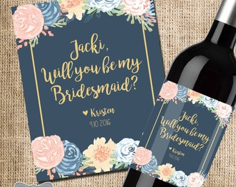 Will You Be My Bridesmaid Wine Label, Custom Wine Label, Wine For Bridesmaids, Asking Bridesmaids, Bridesmaid Proposal, Navy Gold Wedding