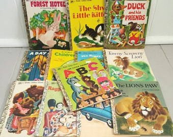 12 vintage Golden Books GC Softcover
