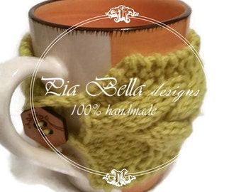 Coffee cup Cozy, Chunky knit, knit cup cozy, coffee cozy, coffee mug cozy, cable knitted cozy mug, tea cozy, cup sleeve
