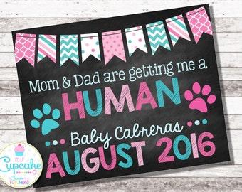 Dog Pregnancy Announcement | Mom Dad Getting a Human | Pink & Blue | Chalkboard Sign | Pregnancy Reveal | Pregnancy Photo Prop | Digital