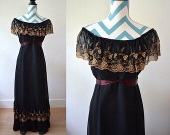 Vintage 70s Lace Maxi Dress Off Shoulder Boho Long Black Dress Gold Lace