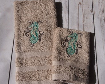 Seahorse Washer and hand towel set