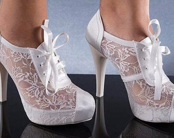 Wedding shoes, Bridal shoes, Handmade LACE  ivory, pearl white, cream wedding shoes  #1006