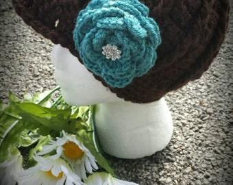 Newsboy hat, Newsboy hat with flower, Crochet newsboy hat, brown newsboy hat, teal flower, brim hat, warm hat, crochet beanie, Chemo hat