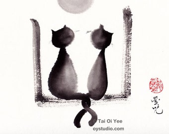 Together We'll Grow Old - signed print of sumi-e cats