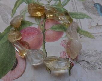 Citrine nuggets, lemon beads, nugget beads
