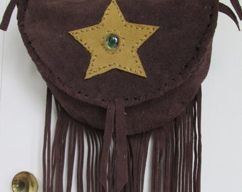 womans brown suede leather bag,fringed with star and gem,golden fancy buckle,crossbody or shoulder,boho,hippie,9x7