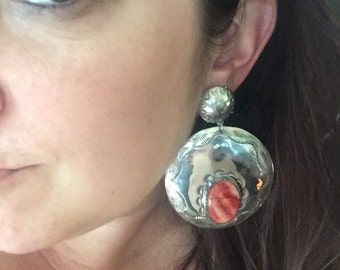 Reserved For Tracy Layaway Payment Massive Stunning Signed Joan Slifka Sterling Silver Spiny Oyster Clip Earrings Southwestern
