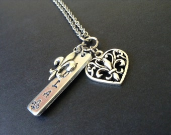 NOLA Charm Necklace with pewter fleur de lis and heart charms... New Orleans