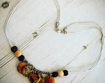 Charm Necklace ~ Beaded Necklace ~ Necklace ~ Wooden Necklace ~ Hippie Necklace ~ Boho Necklace ~ Funky Necklace