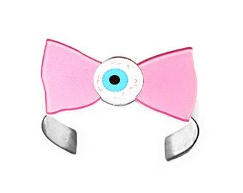 Candy Eyeball Pastel Bow cuff - Pink and Blue creepy weird bracelet