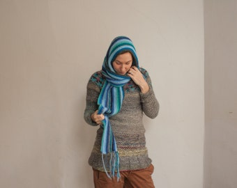 Handmade sea blue striped scarf