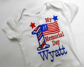 Embroidery Design, My 1st Memorial Day applique, 2 sizes, summer holiday, patriotic design, machine embroidery, name not included