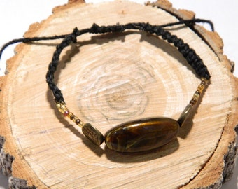 Black and bronze hemp bracelet, Boho bracelet, Adjustable bracelet, Stackable bracelet