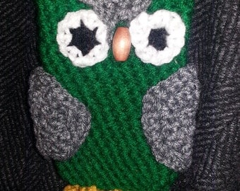 Handmade owl phone case, purse, owl pouch, green and grey, slytherin