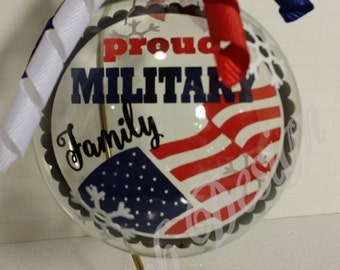 Proud Military Family Floating Glass Ball Christmas Ornament