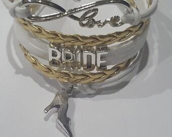 Bride Infinty Love Bracelet w Bow Charm