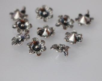 2 PCS, Flower Charm, Sterling Silver Flower Pendant or Charm, Silver Floral Charm, Thai Style Flower Charm, DIY Jewelry Findings