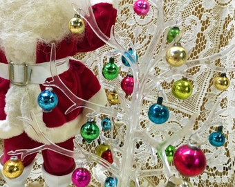 Acrylic Christmas Tree with 36 Mercury Glass Ornaments Vintage Antique