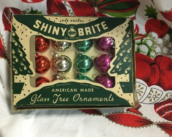 Vintage Christmas Ornaments Shiny Brite Green with box Mercury Glass 12