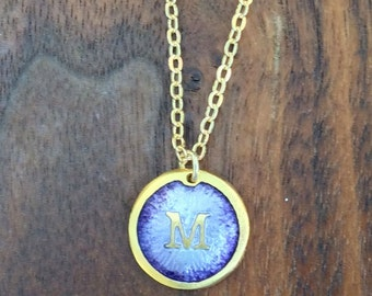 Gold M Enamelled Initial, Custom M Initial Necklace- 24k Vermeil over Pure Silver