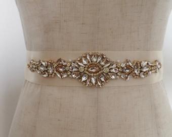 gold Rhinestone Sash belt, bridal sash belt, gold crystal floral sash,  gold rhinestone sash, wedding sash, craft bridal sash supply
