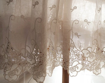 cotton lace fabric with hollowed out floral pattern by the yard