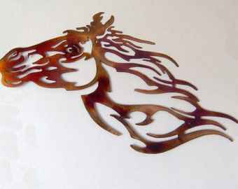 Horse head metal art
