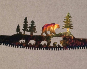 Bear Family in Crosscut Saw Blade Indoor or Outdoor Metal Wall Art