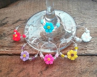 Flower wine charms, set of 6 charms, hostess  gift, sunflower charms, colourful wine charms, barware, glass charms, wedding favors, drinking