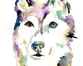 Husky Watercolor Print, Print of Husky Painting, Husky Painting, Dog Painting, Abstract Husky Art, Watercolor Husky, Print of Dog, Dog Art