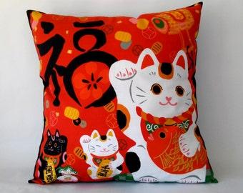 maneki neko cushion cover kawaii 50x50 cm 20x20 inches