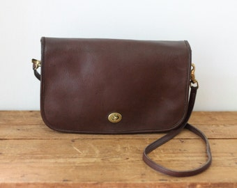 Coach Vintage Brown Leather Flap Handbag/ Coach Mahogany Convertible Clutch Shoulder Bag