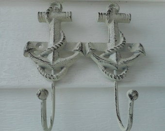 Cast iron dual anchor hooks / beach decor / nautical decor