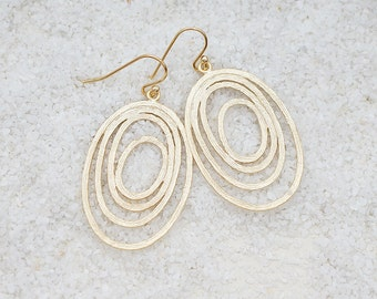Swirl Ovals, Minimal Chandelier, Bohemian Chic Earrings, Modern Everyday Jewelry, Simple, Gift For Her, Earrings
