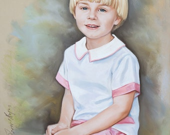 Pastel portrait of a boy, Handmade drawing portrait