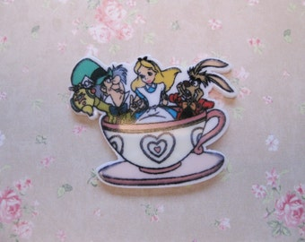 NEW! Alice In Wonderland Teacup With Friends!  Flatback Resin Embellishment (4pcs)  C151/152