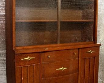 Antique Victorian Walnut Bowed Glass China Hutch Storage