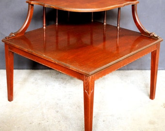 Vintage Wood Side Two Tiered End Table