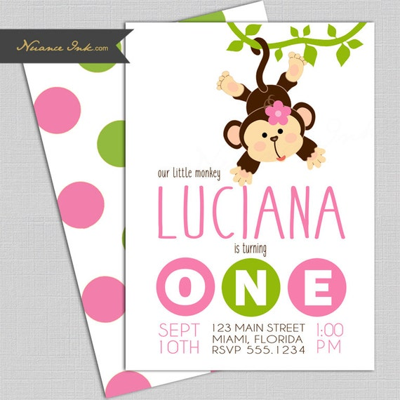 Mod Monkey Birthday Party Invitations, pink and green, jungle theme, 24 hr turnaround, printed or digital file diy, polka dot, first, 1st