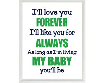 I'll Love You Forever, I'll Like You For Always, As Long As Im Living My Baby You'll Be, Quote, Baby Boy Nursery, Navy Blue, Green, Wall Art