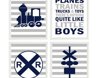 Train Wall Art, Baby Boy Nursery, Train Nursery Print, NavyGray Decor, Stripe Print, Little Boys Quote, Boy Room Art, Big Boy Room, Gift