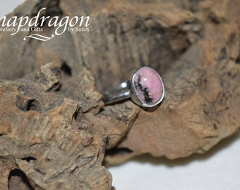 Rhodonite sterling silver ring UK size 6 US size L