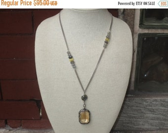 ON SALE Boho Chic Artisian Amber Vintage Soldered Glass Pendant with Czech Glass and Labradorte Gemstone Beads Chain NecklaceOOAK