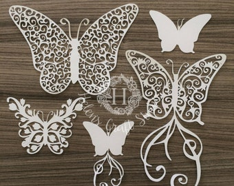 Butterflies SVG cutting file and butterfly DXF cut file / Swirl SVG butterfly cutting files for silhouette studio and cricut cut