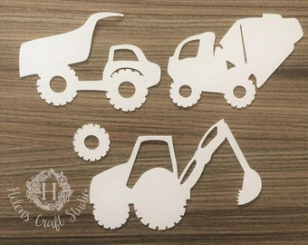 Construction SVG files including digger svg, truck svg and mixer svg / DFX file and kids SVG cutting files for silhouette cameo and cricut