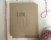 I Love Us Rustic Kraft Greeting Card, Valentine's Day Card, Anniversary Card, Stationery, Stationary, Valentine, Snail Mail