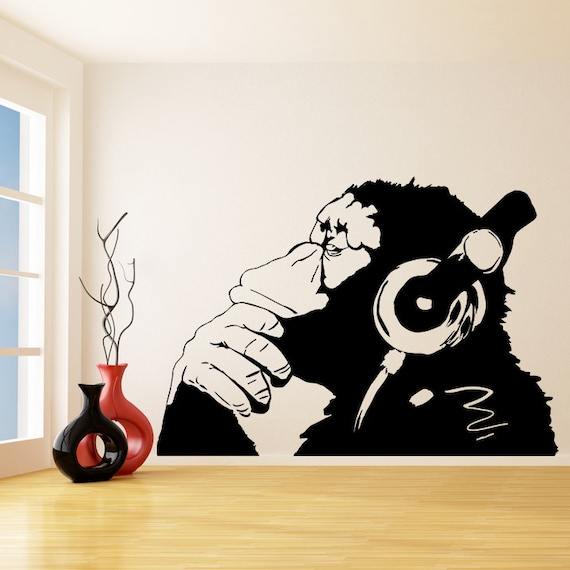 banksy vinyl wall decal monkey with headphones one color. Black Bedroom Furniture Sets. Home Design Ideas