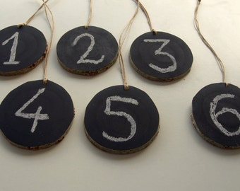 Set of 6,Chalkboard Wood Tags,Wedding Table Numbers,Chalkboard Ornaments,Wedding Decoration,Name Tags,Party Ornaments.