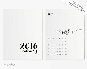 2016 Fancy Calendar PRINTABLE